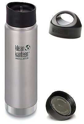 (590ml with Loop Cap and Cafe Cap 2.0, Brushed Stainless) - Klean Kanteen Wide
