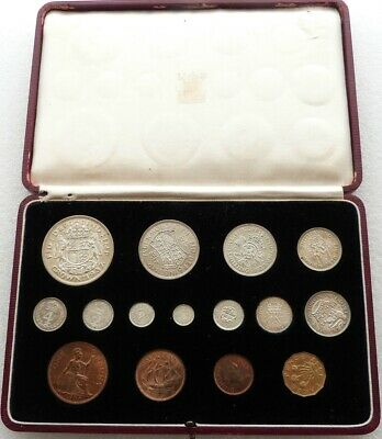 1937 Royal Mint George VI Bare Head Coronation Proof 15 Coin Set Boxed