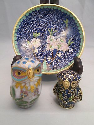 Vintage Cloisonne Enamel Painted Owl Figurines Trinket Dish Plate Collection