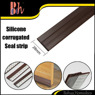 28mm Self-adhesive Silicone Rubber Corrugated Door Bottom Seal Weather Stripping