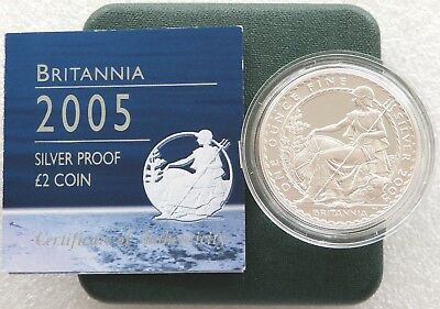 2005 Royal Mint Britannia £2 Two Pound Silver Proof 1oz Coin Box Coa Issue 1,539