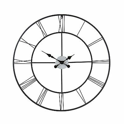 Wall Clock Large Decorative for Home Living Room Big Roman Numeral Black Classic