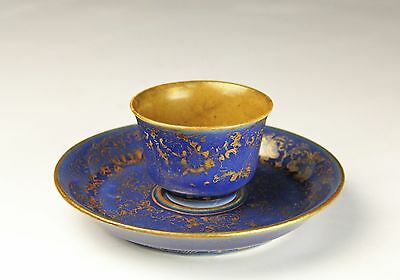 Antique Chinese Porcelain Powder Blue And Gilt Cup With Fitted Plate - 18C
