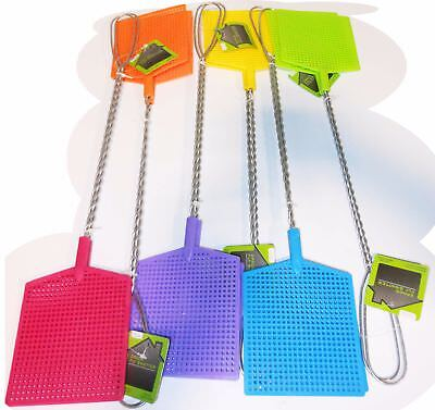 Lot Of 12 (6 Packs Of 2) Fly Swatter Insect Bug Metal Handle Assorted Colors NEW