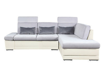 Faux Leather Microfiber Sectional Sofa Chaise Adjule Headrest White L Grey