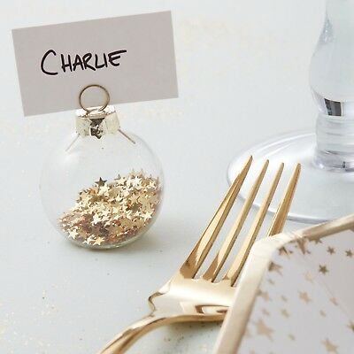 Ginger Ray 6 Chic Gold Star Glass Bauble Christmas Place Card Holders