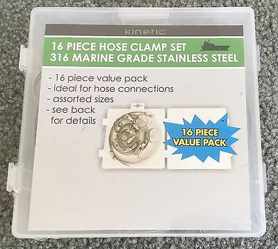 16pc 16 Piece Hose Clamp Set 316 Marine Grade Stainless Steel - New & Sealed