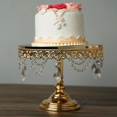 "10"" Shiny Gold Plated Mirror Cake Stand Wedding Party Cupcake Display Pedestal"