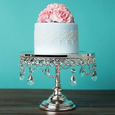 "10"" Shiny Silver Plated Mirror Cake Stand Wedding Party Cupcake Display Pedestal"