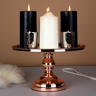 "12"" Rose Gold Plated Mirror Cake Stand, Round Chrome Metal Wedding Display Tower"