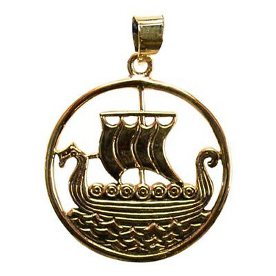 "Viking Ship Longboat Longship Celtic Norse Bronze Metal 1"" Pendant Necklace"
