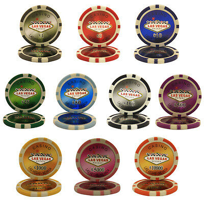 1000pcs 14G LAS VEGAS LASER CASINO CLAY POKER CHIPS BULK - Choose Denominations