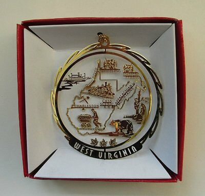 West Virginia Ornament Brass Home State Souvenir Travel Gift