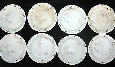 8 Lot Alfred Meakin TINTERN 1 butter pat pats England floral gold gilt full set