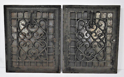 """Set Of 2 Victorian Antique Cast Iron Register Wall Grille Grate Vent Fits 8""""x10"""""""