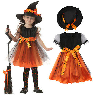 AU STOCK Halloween Children Kids Girls Witch Costume Tutu Tulle Fancy Dress Set