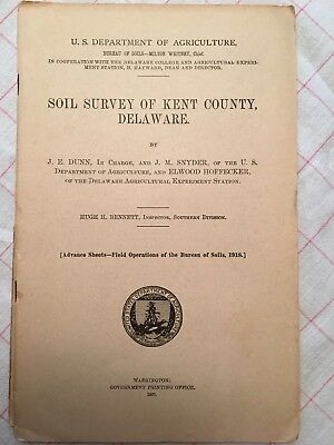 1920 Kent County, Delaware Soil Survey book & color map