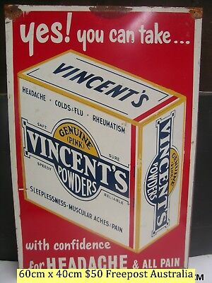 Vincents Powders With  Confidence  Tin Sign Freepost Australia
