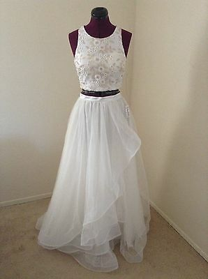 NWT Sequin Hearts Dresses $160 2 Piece Long Tulle Skirt w/Embroidered Top*Sz 5