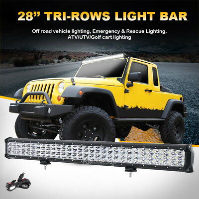 "28""inch 900W CREE 3Rows Spot&Flood LED Work Light Bar 4WD Jeep 90000LM SUV CAR"