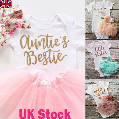 UK Newborn Toddler Baby Girls Outfit Clothes Romper Jumpsuit Bodysuit+Lace Skirt