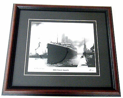 RMS TITANIC DEPARTS L/E FRAMED PRINT W/COA  #1198/1911  SIGNED By MILLVINA DEAN