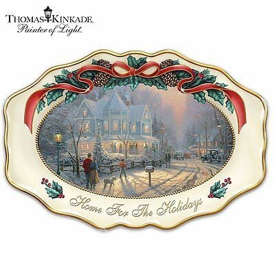 Thomas Kinkade Home For The Holidays Large Christmas Serving Platter L/e  W/coa