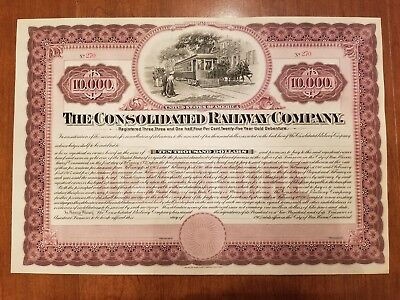 The Consolidated Railway Company Bond Stock Certificate New Haven Connecticut