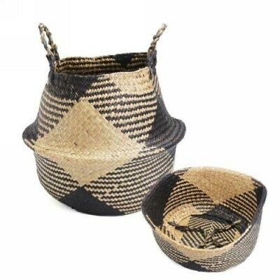Natural Seagrass Belly Basket Straw Plant Pot Bag Laundry Basket Toy Home Decor