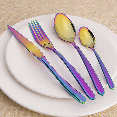 4Pcs Iridescent Unicorn Stainless Steel Cutlery Set Unique Rainbow Amazing Color