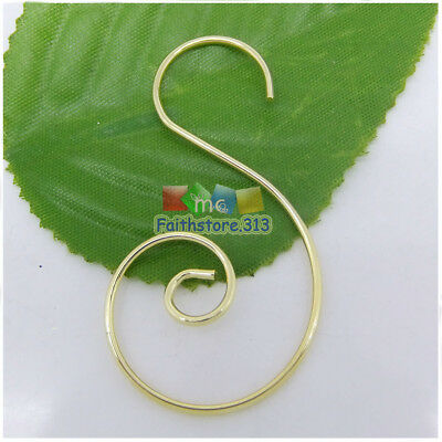 """100 pcs Gold Plated Swirl Scroll Wire Christmas Tree Ornament Hooks Hanger 1.45"""""""