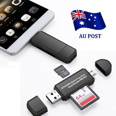 Micro USB OTG to USB 2.0 Adapter SD/Micro SD Card Reader For Smartphones/PC BO