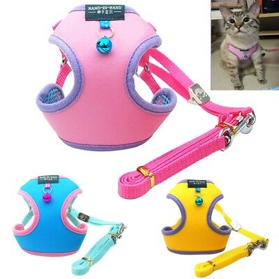 Pet Cat Harness & Leash Candy Color Kitten Puppy Dog Vest Lead Strap With Bell