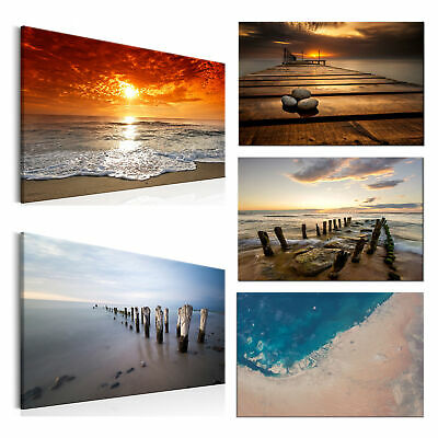 sonnenuntergang bild strand meer leinwand poster nordsee xxl 100 cm 65 cm 249 eur 28 40. Black Bedroom Furniture Sets. Home Design Ideas