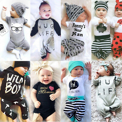 AU Newborn Baby Boys Girls Romper Bodysuit Jumpsuit Outfits Set Clothes