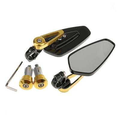 CNC Motorcycle 22mm Handle bar End Rearview Side Mirrors-Gold