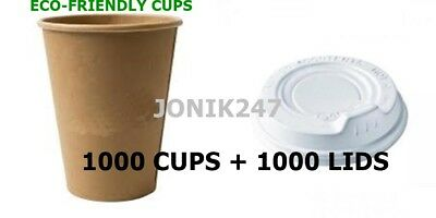 1000 Cups + 1000 Lids 12Oz350Ml Quality Craft Paper Disposable Coffee Cups