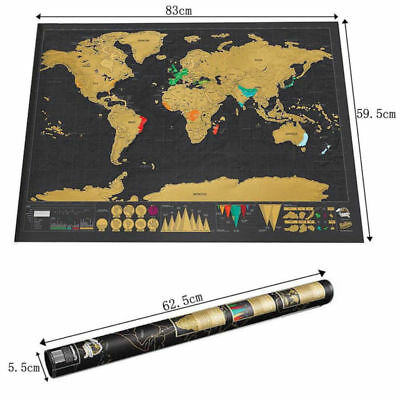 Deluxe Travel Edition Scratch Off World Map Poster Personalized Journal Log Map
