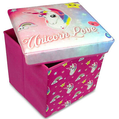 Pink Unicorn Ottoman Kids Toy Box Storage Chest With Padded Seat Girls Bedroom