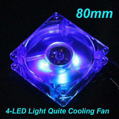 80*80*25mm Blue Quad 4LED Light Quite Cooling Fan Clear 12V 4Pin FOR PC Computer