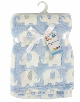 Luxury Baby Newborn Soft & Plush Fleece Blanket Elephant Design 75 x 100cm