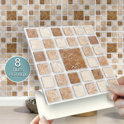"""8 Roman Mosaic Stick On 6"""" x 6"""" Wall Tile Stickers For Kitchens & Bathrooms"""