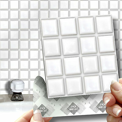 18 White Mosaic Stick On Self Adhesive Wall Tile Stickers For Kitchens Bathrooms