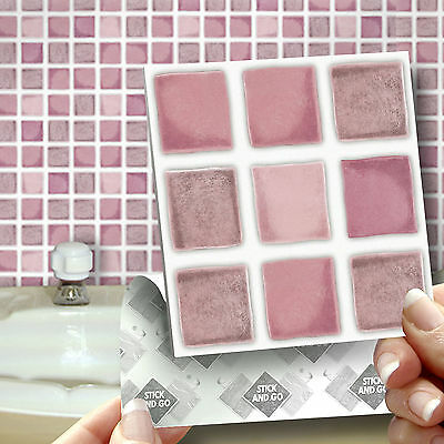 18 Dusky Pink Stick On Self Adhesive Wall Tile Stickers For Kitchen & Bathroom