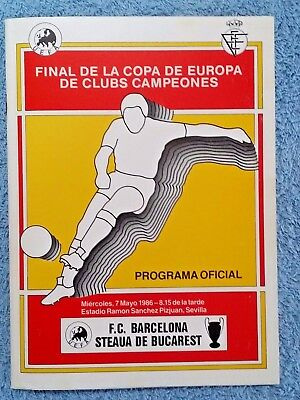 1986 - EUROPEAN CUP FINAL PROGRAMME - BARCELONA v STEAUA BUCHAREST