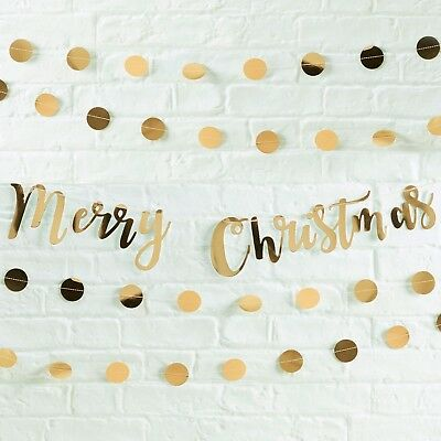 Ginger Ray Merry Christmas Gold Script Bunting - 1.5M Christmas Party Garland