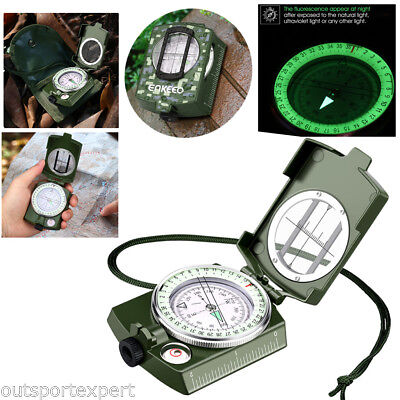 Multi Function Military Compass Pocket Size Outdoor Navigation Camping +Pouch AU