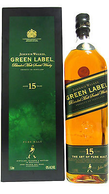 Johnnie Walker Green Label 15 Year Old Scotch Whisky Rare 1L Version