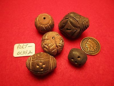 Pre-Columbian Indian Trade Beads, 5 Fancy Spindle Whorl Clay Beads,  #port-01392