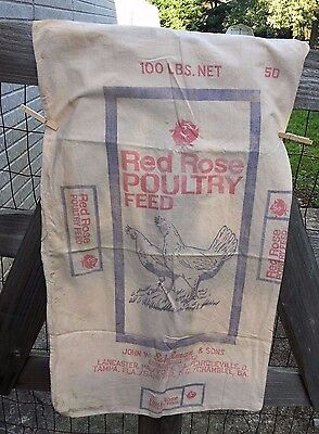 Vintage Red Rose Chicken Poultry Feed 100 lb. Cotton Feed Sack Farm Animal Ag